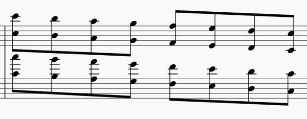 オクターブの練習法-両手下降