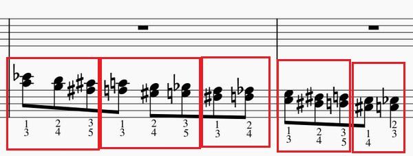 半音階和音の練習法-左手下降